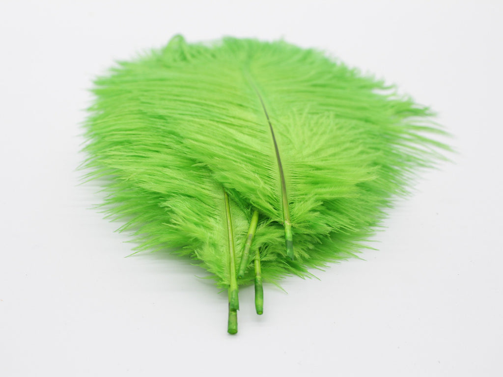 "Green Ostrich Feathers Drabs (13-16"")"