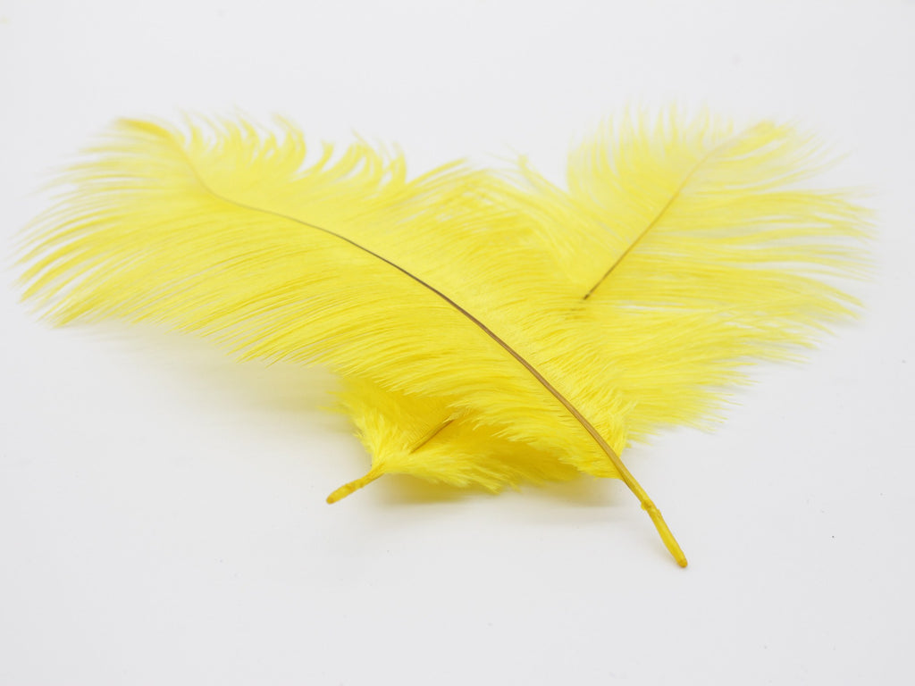 "Yellow Ostrich Feathers Drabs (10-12"")"