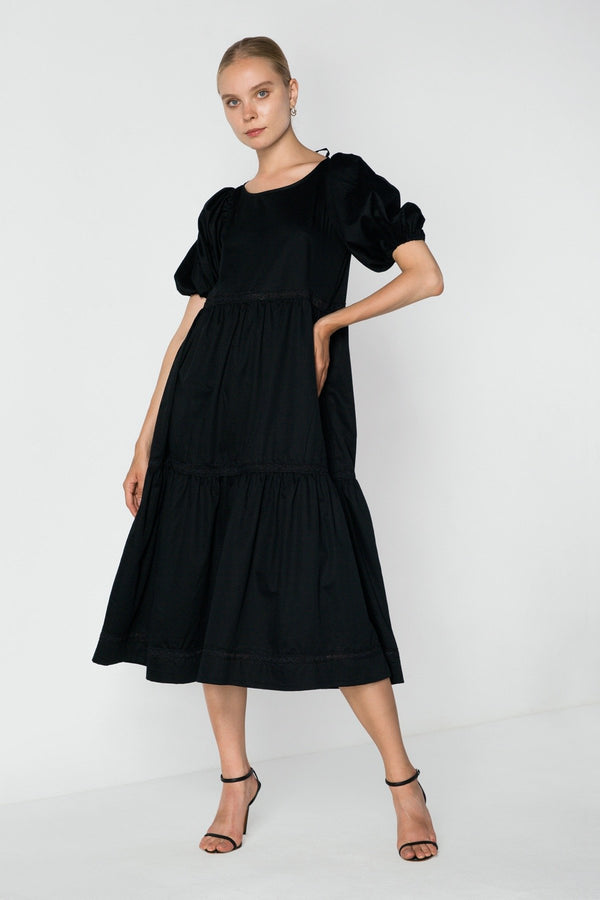 Puff Sleeve Tiered Dress