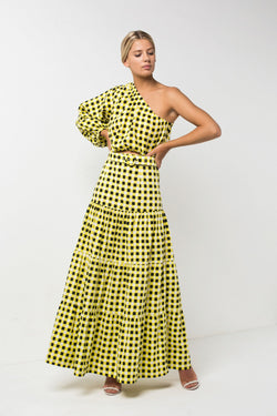 Checkmate Yellow One Shoulder Crop | Checkmate Yellow Skirt