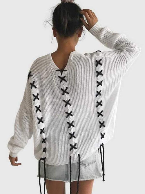 Black Stitch White Sweater