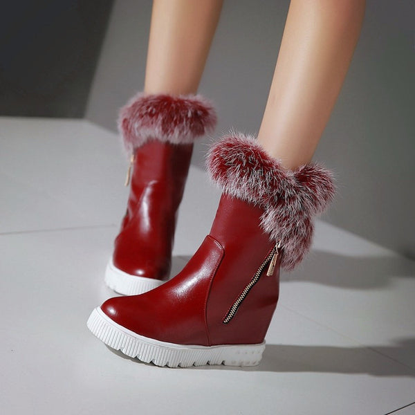 Furry Zip-up Ankle Wedge Boots