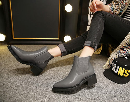 Pointy Ankle Leather Booties