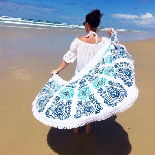 Round Beach Towel With Tassel 2
