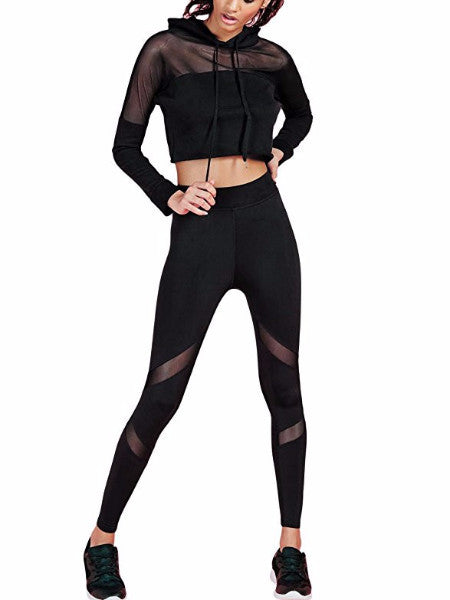 Black Hoodie Active Two Piece Set