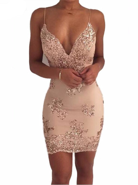 Thin Strap Sequin Bodycon Dress