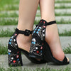 Faux Suede Embroidery Block Sandals