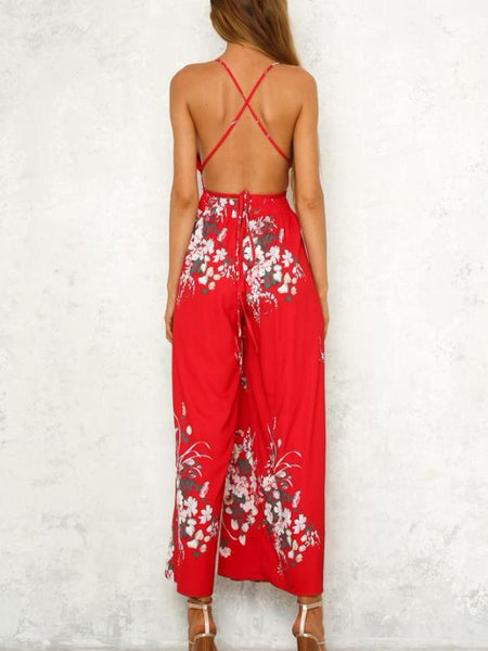 Split Pants Boho Jumpsuit