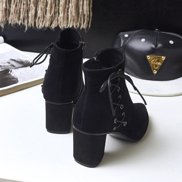Pointy High-heeled Ankle Leather Boots