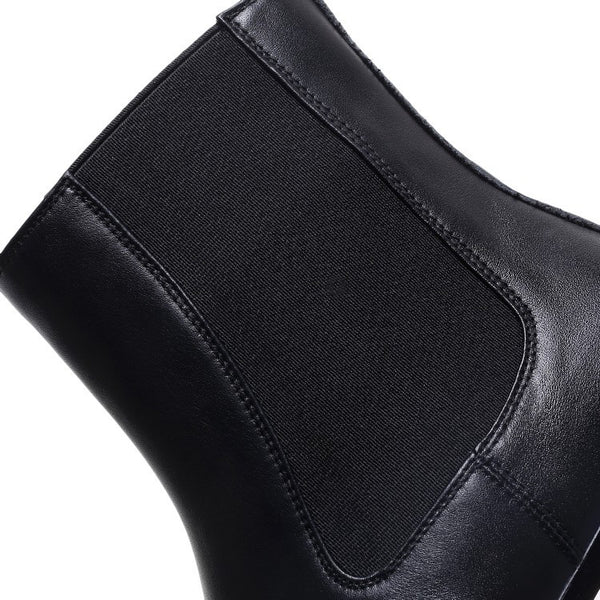 Square Toe Box Leather Ankle Booties