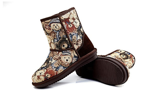 Bear Print Winter Boots