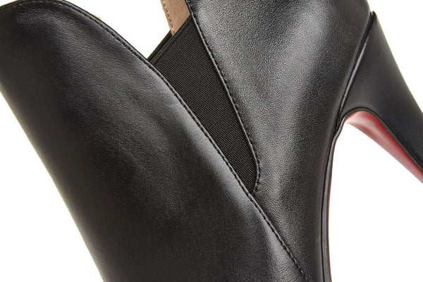 High-heeled Pointy Leather Ankle Booties
