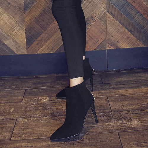 High-heeled Pointy Suede Ankle Booties