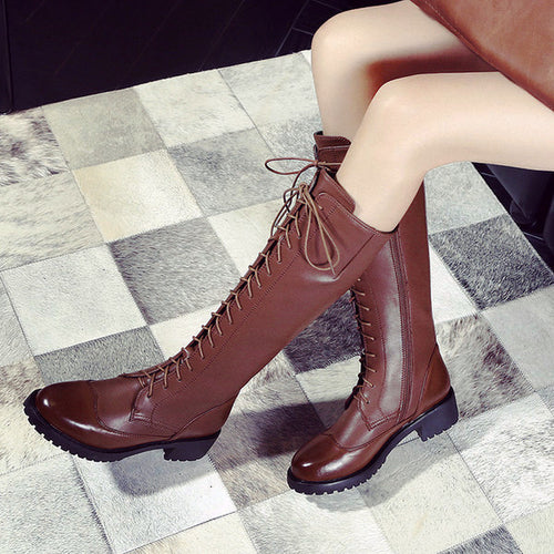 Brogue Knee-High Lace-up Leather Boots