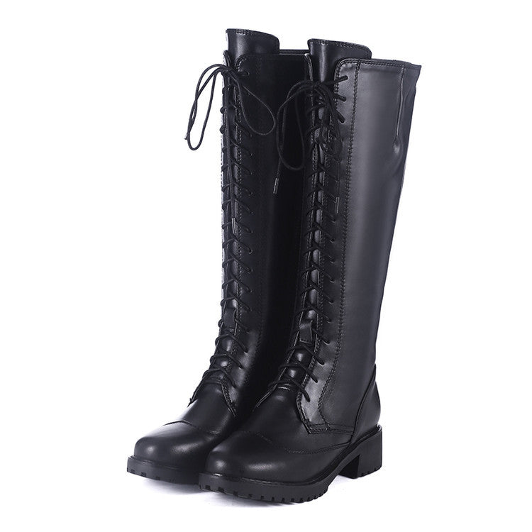 3e08723d1e8 Brogue Knee-High Lace-up Leather Boots