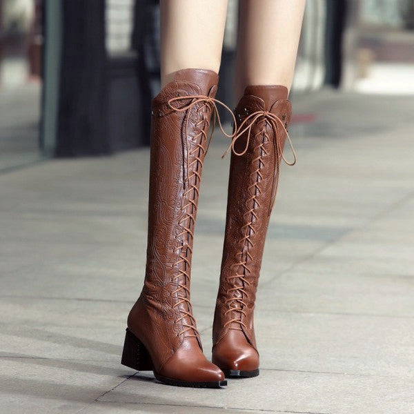 Knee-high Laces Leather Boots