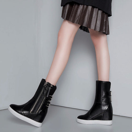 Buckle Calf Leather Wedge Boots