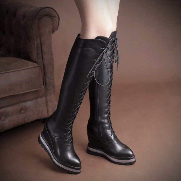 Knee-high Lace Up Leather Boots