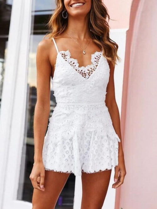 White Full Lace Romper