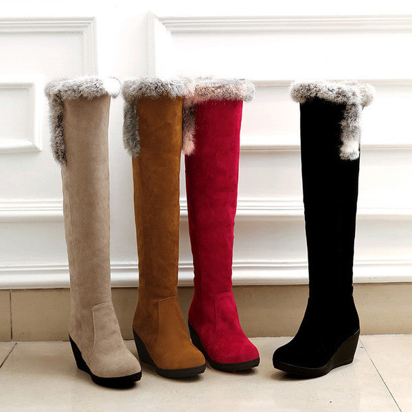 Thigh-High Zip-up Pile Boots