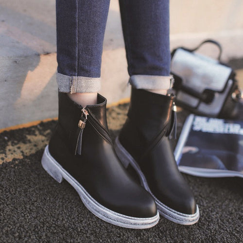 Grunge Ankle Leather Boots