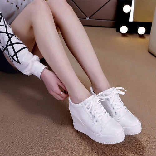 Casual Lace-up Wedge Sneakers