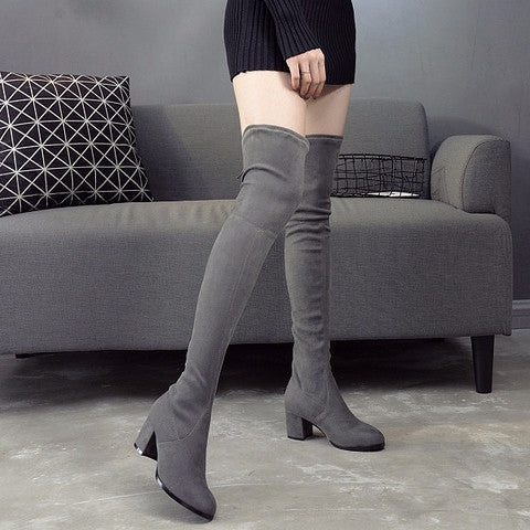 Faux Suede Thigh High Heel Boots