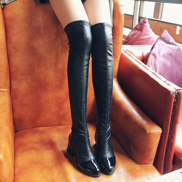 Faux Leather Thigh High Boots
