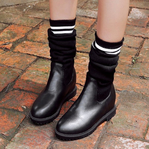 Faux Leather Retro Thigh-high Boots