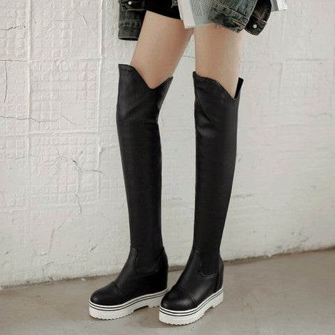 Faux Leather Thigh-high Wedge Boots