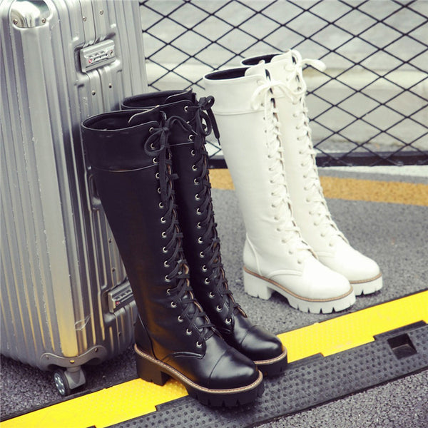 Knee-high Lace-up Combat Boots
