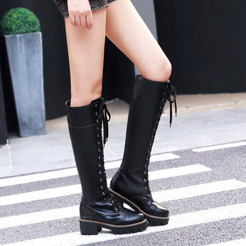 Knee-high Lace-up Casual Boots