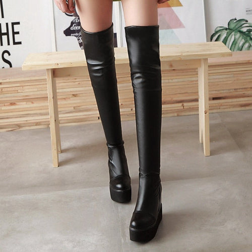 Faux Leather Thigh-high Platform Boots