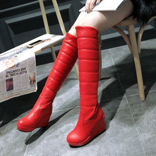 Knee-high Puffy Wedge Boots