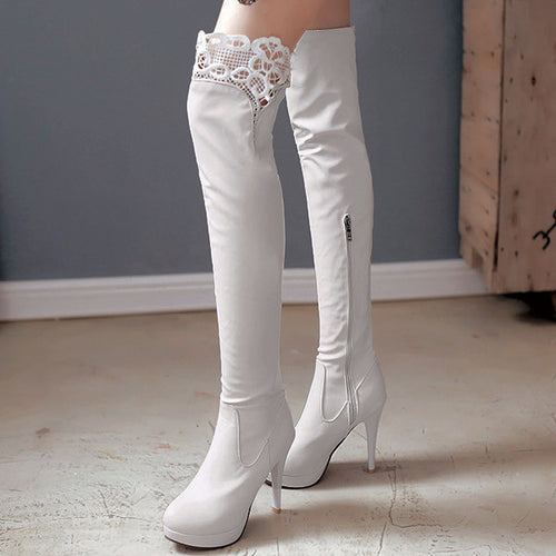 Lace Thigh-high Zip-up Heeled Boots