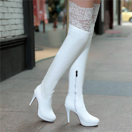 Lace Stretchy Thigh-high Stiletto Boots