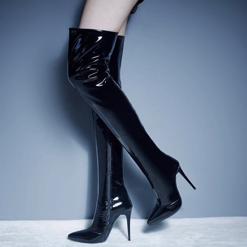 Pointy Thigh-high Patent Leather Boots