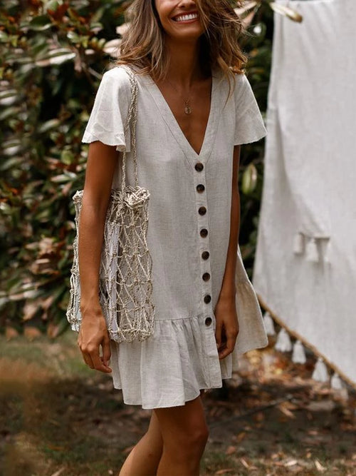 Dropwaist Linen Mini Dress
