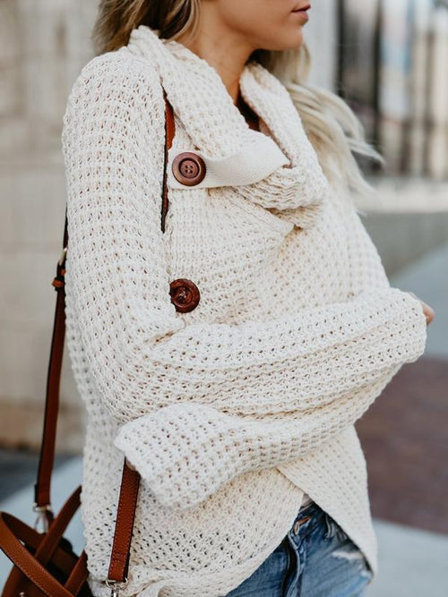 Turtleneck Asymmetrical Sweater