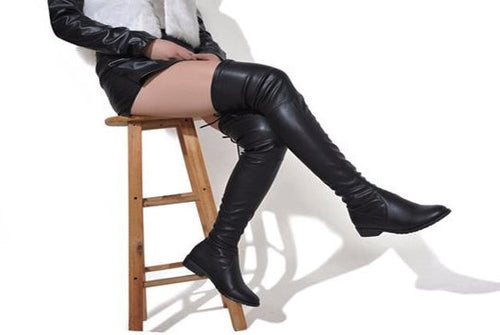 Leather Thigh High Draw-String Boots