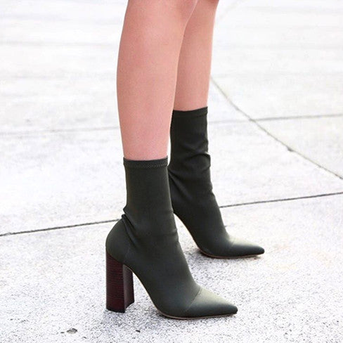 Stretchy Chunky Heel Pull Up Booties