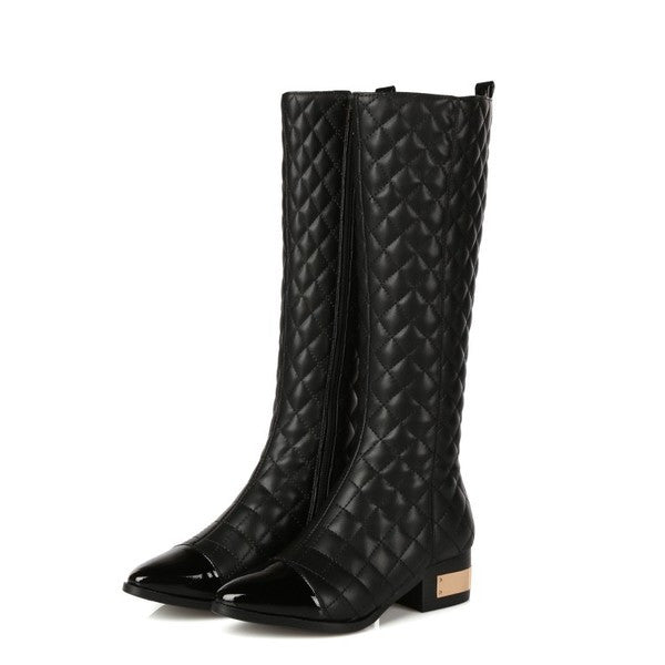 Knee-high Pointy Quilted Leather Boots
