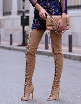 Criss-Cross Thigh-high Corset Boots