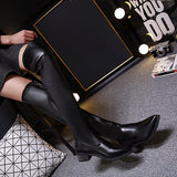 Stretchy Leather Thigh High Boots