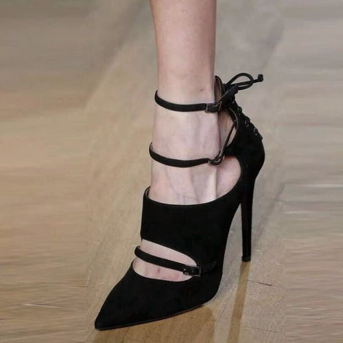 Pointy Buckle-Strap Suede High Heels