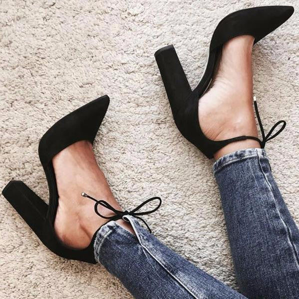 Pointy Suede Lace-up High Heels