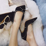 Pointy Studded Suede High Heels