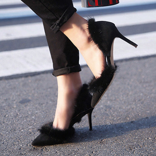Furry Pointy Suede High Heels