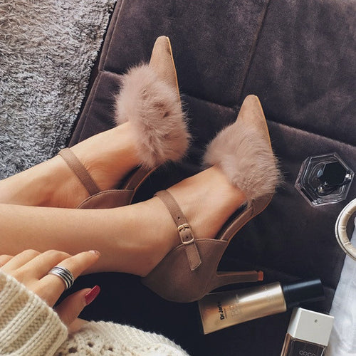 Furry Pointed Strap-on Heels