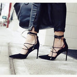 Pointy Criss Cross High Heels